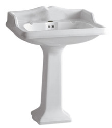 Whitehaus AR834-AR805-1H Isabella Traditional Pedestal with Integrated large Rectangular Bowl, Single Hole Faucet Drilling - White