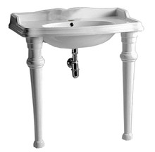 Whitehaus AR864-GB001-1H Isabella Rectangular Console with integrated oval bowl, single hole Faucet Drill, Backsplash, Ceramic Leg Support and Chrome Overflow - White