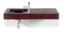 Whitehaus AMMT02 Antonio Miro Large Iroko Wood Wall Mount Counter Top Unit with Integral Drawer - Ebony Wood