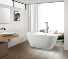 Vanity Art  VA6515-L Freestanding White Acrylic Bathtub and Hose 67 x 31.5 x 23