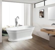 Vanity Art  VA6610 Freestanding White Acrylic Bathtub and Hose 59 x 29.5 x 24