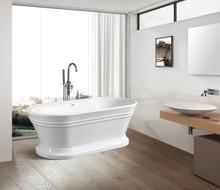 Vanity Art  VA6610-L Freestanding White Acrylic Bathtub and Hose 67.5 x 32 x 23