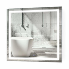 Krugg Icon LED Lighted Bathroom Mirror 36 Inch X 36 Inch with Defogger & Dimmer