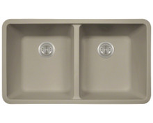 Polaris P208ST Double Equal Bowl Undermount AstraGranite Kitchen Sink 32 in. - Matte Slate