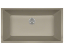 Polaris P848ST Large Single Bowl Undermount AstraGranite Kitchen Sink - Matte Slate 32 5/8 in. W