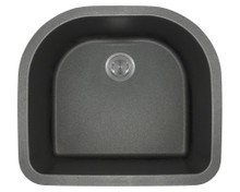 Polaris P428BL Black D-Shape Undermont AstraGranite Kitchen Sink 24 3/4 in.