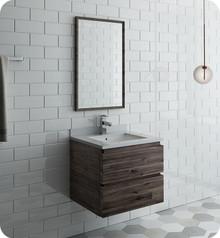 """Fresca FVN3124ACA Formosa 24"""" Wall Hung Modern Bathroom Vanity w/ Mirror - Acacia Wood"""