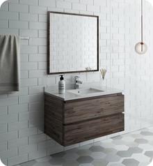 """Fresca FVN3136ACA Formosa 36"""" Wall Hung Modern Bathroom Vanity w/ Mirror - Acacia Wood"""