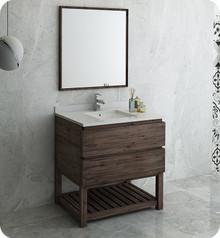 "Fresca FVN3136ACA-FS Formosa 36"" Floor Standing Modern Bathroom Vanity w/ Open Bottom & Mirror - Acacia Wood"