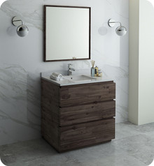"Fresca FVN3136ACA-FC Formosa 36"" Floor Standing Modern Bathroom Vanity w/ Mirror - Acacia Wood"