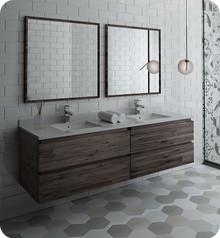 """Fresca FVN31-3636ACA Formosa 72"""" Wall Hung Double Sink Modern Bathroom Vanity w/ Mirrors - Acacia Wood"""