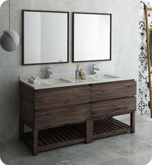 "Fresca FVN31-3636ACA-FS Formosa 72"" Floor Standing Double Sink Modern Bathroom Vanity w/ Open Bottom & Mirrors - Acacia Wood"