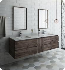 """Fresca FVN31-301230ACA Formosa 72"""" Wall Hung Double Sink Modern Bathroom Vanity w/ Mirrors - Acacia Wood"""