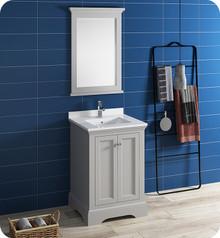 "Fresca FVN2424GRV Windsor 24"" Gray Textured Traditional Bathroom Vanity w/ Mirror - Gray (Textured)"