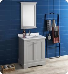 "Fresca FVN2430GRV Windsor 30"" Gray Textured Traditional Bathroom Vanity w/ Mirror - Gray (Textured)"