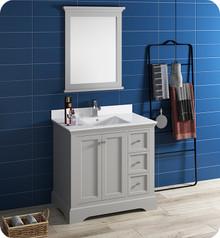 "Fresca FVN2436GRV Windsor 36"" Gray Textured Traditional Bathroom Vanity w/ Mirror - Gray (Textured)"