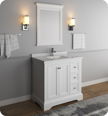 "Fresca FVN2436WHM Windsor 36"" Matte White Traditional Bathroom Vanity w/ Mirror - Matte White"
