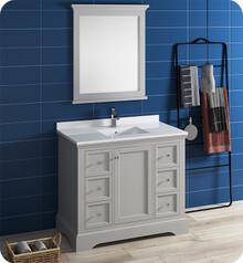 "Fresca FVN2440GRV Windsor 40"" Gray Textured Traditional Bathroom Vanity w/ Mirror - Gray (Textured)"