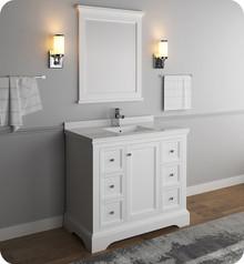 "Fresca FVN2440WHM Windsor 40"" Matte White Traditional Bathroom Vanity w/ Mirror - Matte White"