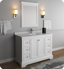 "Fresca FVN2448WHM Windsor 48"" Matte White Traditional Bathroom Vanity w/ Mirror - Matte White"