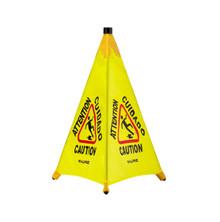 """Alpine 498-30 30"""" Pop-Up Wet Floor Sign - Yellow"""