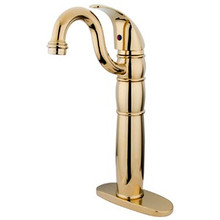 Kingston Brass Single Handle Vessel Sink Faucet with Optional Cover Plate - Polished Brass KB1422LL