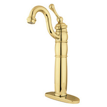 Kingston Brass Single Handle Vessel Sink Faucet with Optional Cover Plate - Polished Brass