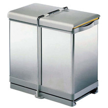 Richelieu 2500170 Recycling Sliding Wastebin with 2 Cans - Opens with Door - Stainless Steel