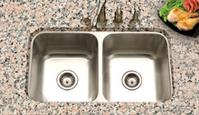 "Houzer Eston STD-2100-1 14 1/16"" x 15 3/4"" Double Bowl Kitchen Sink - Stainless Steel"