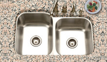 "Houzer Eston STE-2300SR-1 14 1/16"" x 15 3/4"" & 14 1/16"" x 18"" 60/40 Double Bowl Kitchen Sink - Stainless Steel"