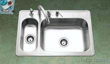 """Houzer Legend LHD-3322-1 33"""" X 22"""" 80/20 Double Bowl Kitchen Sink & Strainer - Stainless Steel"""