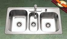 """Houzer Premiere PGT-4322-1 41 5/16"""" X 22"""" Triple Bowl Kitchen Sink & Strainer - Stainless Steel"""