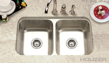"Houzer Elite ED-3108-1 31 1/2"" X 17-15/16"" Undermount 50/50 Double Bowl Kitchen Sink & Strainer - Stainless Steel"