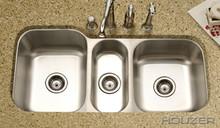 """Houzer Medallion MGT-4120-1 39-13/16"""" X 20 3/16"""" Undermount Triple Bowl Kitchen Sink & Strainer - Stainless Steel"""