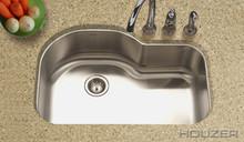 """Houzer Medallion MH-3200-1 31 1/2"""" X 21"""" Undermount Kitchen Sink & Strainer - Stainless Steel"""