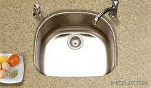 """Houzer Medallion MS-2409-1 23-11/16"""" X 21"""" Undermount One Bowl Kitchen Sink & Strainer - Stainless Steel"""