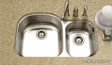 "Houzer Medallion MC-3210SR-1 32 1/2"" X 20-11/16"" Undermount 70/30 Double Bowl Kitchen Sink & Strainer - Stainless Steel"