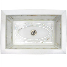 """Linkasink MI04 White Marble Graphic Mother of Pearl Inlay Undermount Sink 18 1/4"""" x 12 1/4"""""""