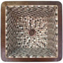 """Linkasink V019 WC Large Square Drop In or Undermount Mosaic Sink 20"""" X 20"""" X 10"""" - Weathered Copper"""