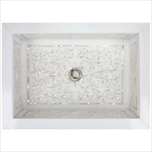"""Linkasink MI02 White Marble Floral Mother of Pearl Inlay Undermount Sink 18 1/4"""" x 12 1/4"""""""