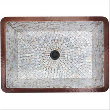 """Linkasink V018 WC Rectangular Box 14"""" x 20"""" Drop In or Undermount Copper & Mosaic Tile Lavatory Sink - Weathered Copper"""
