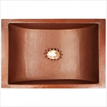 "Linkasink C052 WC Copper Rectangular Crescent Undermount Lavatory Sink 21"" X 14"" X 6"" OD - Weathered Copper"