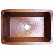 "Linkasink C010 SS Copper Undermount Kitchen Sink 30"" X 20"" X 10""  - Hammered Stainless Steel"