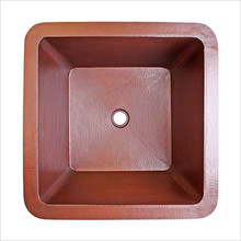 "Linkasink C005 SS Square Copper Drop In or Undermount Lav Sink 16"" X 16"" X 8""  - Stainless Steel"