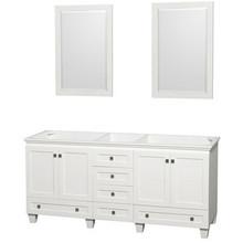 "Wyndham 72"" Double Bathroom Vanity in White, No Countertop, No Sinks & 24"" Mirror"