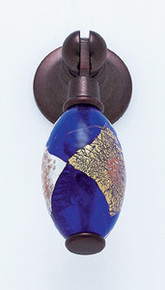 """JVJ 47712 Old World Bronze 30 mm (1 3/16"""") Pendant Drop Door Pull - Gold and Silver on Blue"""