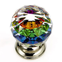 "JVJ 36414 Polished Nickel 40 mm (1 9/16"") Round Faceted 31% Leaded Crystal Door Knob With Prism"
