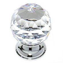 "JVJ 36226 Chrome 40 mm (1 9/16"") Round Faceted 31% Leaded Crystal Door Knob"