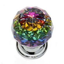 "JVJ 35626 Chrome 30 mm (1 3/16"") Round Faceted 31% Leaded Crystal Door Knob With Prism"