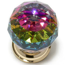 "JVJ 35624 24 K Gold Plated 30 mm (1 3/16"") Round Faceted 31% Leaded Crystal Door Knob With Prism"